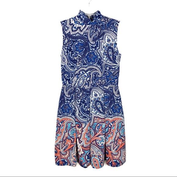 Tahari Dresses & Skirts - Tahari | Navy & Orange Mock Neck Sleeveless Dress